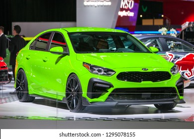 DETROIT - JANUARY 14: The 2019 Kia Forte on display at the North American International Auto Show media preview January 14, 2019 in Detroit, Michigan.