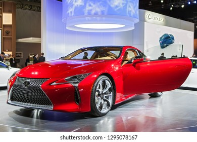 DETROIT - JANUARY 14: The 2019 Lexus LC on display at the North American International Auto Show media preview January 14, 2019 in Detroit, Michigan.