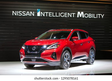 DETROIT - JANUARY 14: The 2019 Nissan Murano on display at the North American International Auto Show media preview January 14, 2019 in Detroit, Michigan.