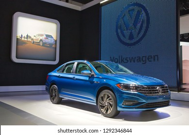 DETROIT - JANUARY 14: The 2019 Volkswagen Jetta on display at the North American International Auto Show media preview January 14, 2019 in Detroit, Michigan.