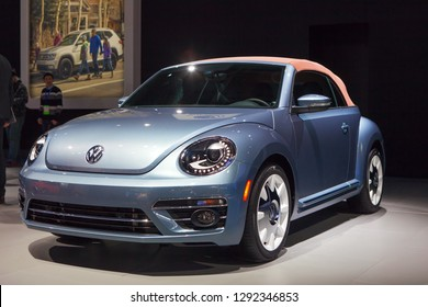 DETROIT - JANUARY 14: The 2019 Volkswagen Beetle Convertible on display at the North American International Auto Show media preview January 14, 2019 in Detroit, Michigan.
