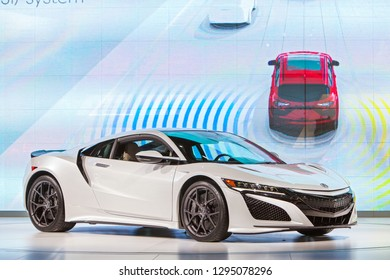 DETROIT - JANUARY 14: The Acura NSX on display at the North American International Auto Show media preview January 14, 2019 in Detroit, Michigan.