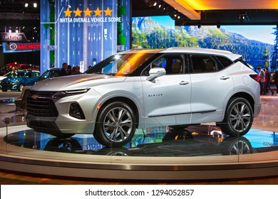 DETROIT - JANUARY 14: The all new 2020 Chevrolet Blazer on display at the North American International Auto Show media preview January 14, 2019 in Detroit, Michigan.