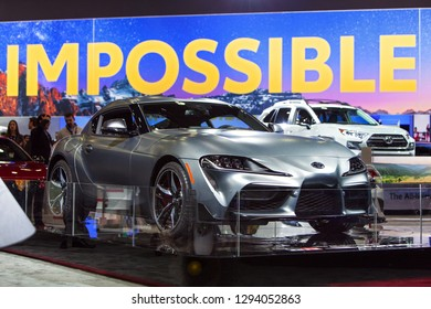 DETROIT - JANUARY 14: The all new Toyota Supra on display at the North American International Auto Show media preview January 14, 2019 in Detroit, Michigan.