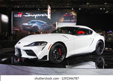 DETROIT - JANUARY 14: The debut of the new 2020 Toyota Supra at the North American International Auto Show media preview January 14, 2019 in Detroit, Michigan.