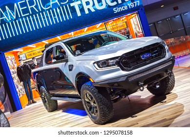 DETROIT - JANUARY 14: The debut of the new Ford Ranger pickup truck at the North American International Auto Show media preview January 14, 2019 in Detroit, Michigan.