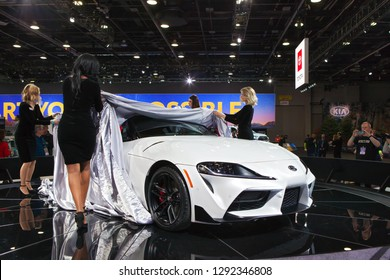 DETROIT - JANUARY 14: Debuting the new Toyota Supra at the North American International Auto Show media preview January 14, 2019 in Detroit, Michigan.