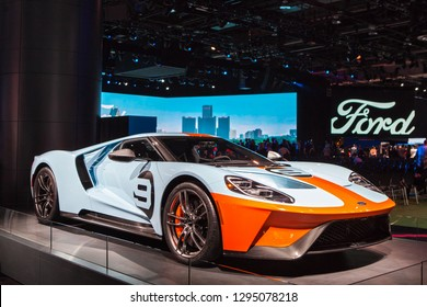 DETROIT - JANUARY 14: A Ford GT supercar on display at the North American International Auto Show media preview January 14, 2019 in Detroit, Michigan.