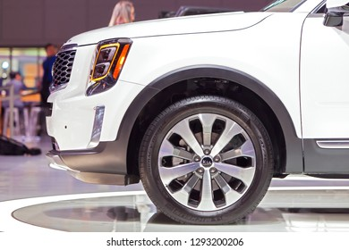 DETROIT - JANUARY 14: The front quarter panel of the new Kia Telluride at the North American International Auto Show media preview January 14, 2019 in Detroit, Michigan.