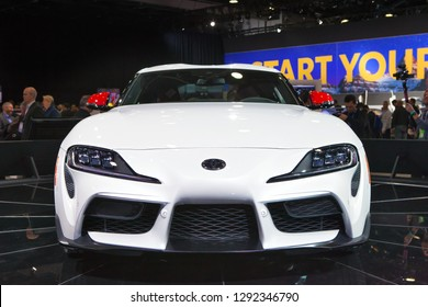 DETROIT - JANUARY 14: Front view of the new Toyota Supra at the North American International Auto Show media preview January 14, 2019 in Detroit, Michigan.