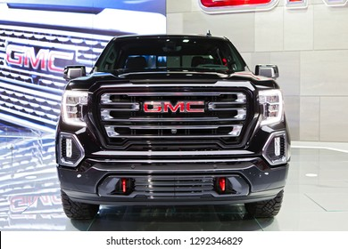 DETROIT - JANUARY 14: Front view of the new 2019 GMC Sierra truck at the North American International Auto Show media preview January 14, 2019 in Detroit, Michigan.