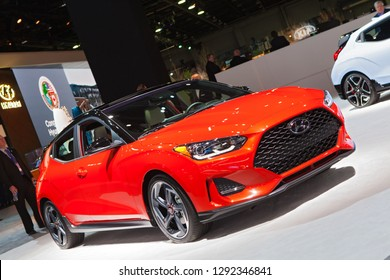 DETROIT - JANUARY 14: A Hyundai Veloster on display at the North American International Auto Show media preview January 14, 2019 in Detroit, Michigan.