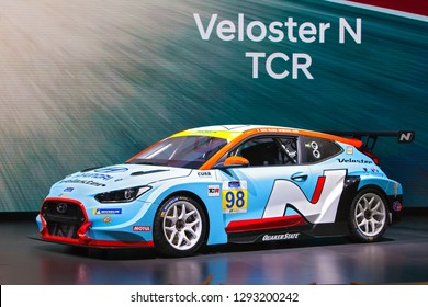 DETROIT - JANUARY 14: The Hyundai Veloster N TCR race car on display at the North American International Auto Show media preview January 14, 2019 in Detroit, Michigan.
