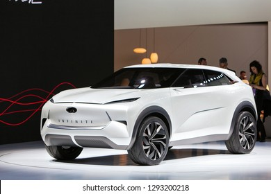 DETROIT - JANUARY 14: The Infiniti QX inspiration concept on display at the North American International Auto Show media preview January 14, 2019 in Detroit, Michigan.