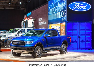 DETROIT - JANUARY 14: The new 2019 Ford Ranger pickup truck on display at the North American International Auto Show media preview January 14, 2019 in Detroit, Michigan.