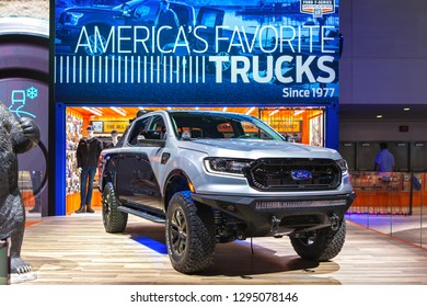 DETROIT - JANUARY 14: The new Ford Ranger pickup truck on display at the North American International Auto Show media preview January 14, 2019 in Detroit, Michigan.