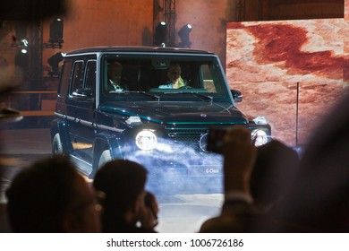 DETROIT - JANUARY 14 : The new Mercedes Benz G-Class being debuted at the NAIAS media preview January 14, 2018 in Detroit, MIchigan.