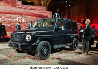 DETROIT - JANUARY 14 : The World Premeire of the Mecedes-Benz G-Class Wagon at the NAIAS media preview January 14, 2018 in Detroit, MIchigan.