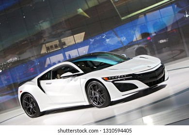 DETROIT - JANUARY 15: The 2019 Acura NSX on display at the North American International Auto Show media preview January 15, 2019 in Detroit, Michigan.