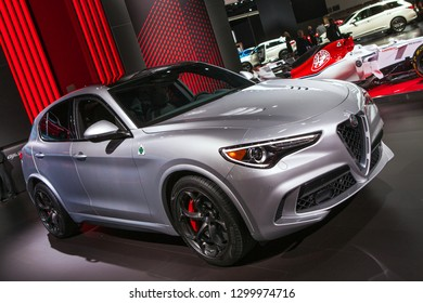 DETROIT - JANUARY 15: The 2019 Alfa Romeo Stelvio on display at the North American International Auto Show media preview January 15, 2019 in Detroit, Michigan.