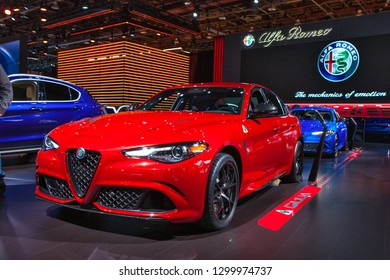 DETROIT - JANUARY 15: The 2019 Alfa Romeo Giulia on display at the North American International Auto Show media preview January 15, 2019 in Detroit, Michigan.