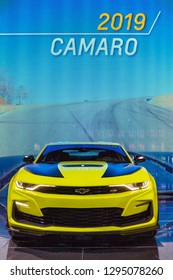DETROIT - JANUARY 15: The 2019 Chevrolet Camaro SS on display at the North American International Auto Show media preview January 15, 2019 in Detroit, Michigan.