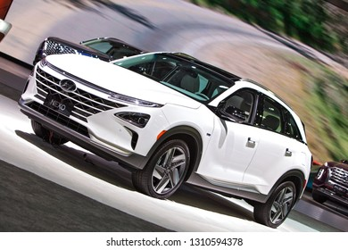 DETROIT - JANUARY 15: The 2019 Hyundai Nexo on display at the North American International Auto Show media preview January 15, 2019 in Detroit, Michigan.