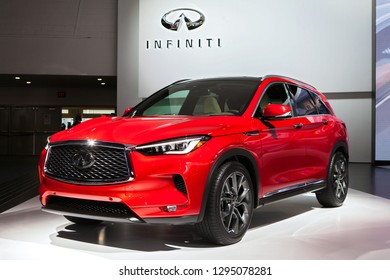DETROIT - JANUARY 15: The 2019 Infiniti QX50 on display at the North American International Auto Show media preview January 15, 2019 in Detroit, Michigan.