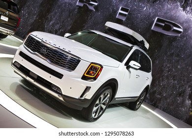 DETROIT - JANUARY 15: The 2019 Kia Telluride SUV on display at the North American International Auto Show media preview January 15, 2019 in Detroit, Michigan.