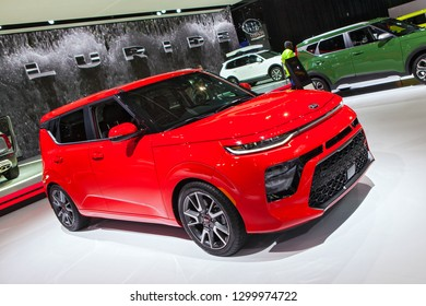 DETROIT - JANUARY 15: The 2019 Kia Soul on display at the North American International Auto Show media preview January 15, 2019 in Detroit, Michigan.