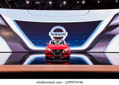 DETROIT - JANUARY 15: The 2019 Nissan Maxima on display at the North American International Auto Show media preview January 15, 2019 in Detroit, Michigan.