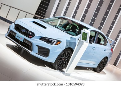DETROIT - JANUARY 15: The 2019 Subaru WRX STI on display at the North American International Auto Show media preview January 15, 2019 in Detroit, Michigan.