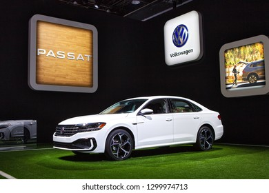 DETROIT - JANUARY 15: The 2019 Volkswagen Passat on display at the North American International Auto Show media preview January 15, 2019 in Detroit, Michigan.