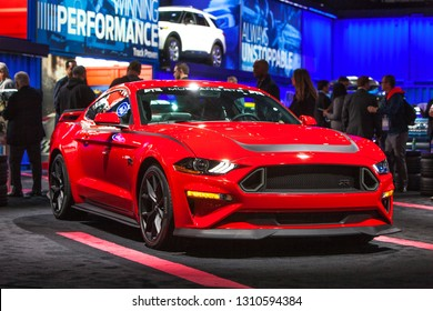 DETROIT - JANUARY 15: The 2020 Ford Mustang RTR on display at the North American International Auto Show media preview January 15, 2019 in Detroit, Michigan.