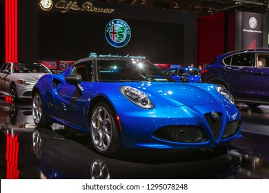 DETROIT - JANUARY 15: The Alfa Romeo 430c on display at the North American International Auto Show media preview January 15, 2019 in Detroit, Michigan.