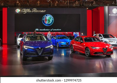 DETROIT - JANUARY 15: The Alfa Romeo exhibit at the North American International Auto Show media preview January 15, 2019 in Detroit, Michigan.