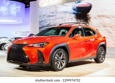 DETROIT - JANUARY 15: The all-new 2019 Lexus UX on display at the North American International Auto Show media preview January 15, 2019 in Detroit, Michigan.