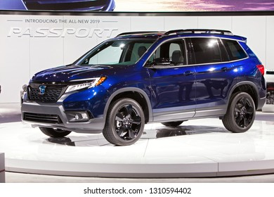 DETROIT - JANUARY 15: The all-new 2019 Honda Passport on display at the North American International Auto Show media preview January 15, 2019 in Detroit, Michigan.
