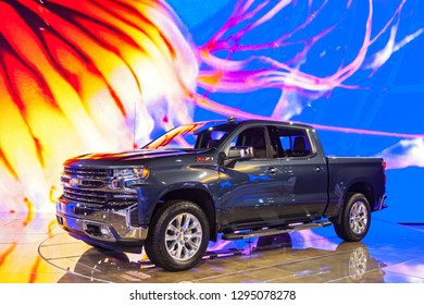 DETROIT - JANUARY 15: The Chevrolet Sivarado Z71 on display at the North American International Auto Show media preview January 15, 2019 in Detroit, Michigan.