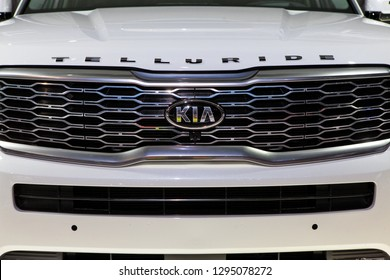 DETROIT - JANUARY 15: The front grill of the new Kia Telluride at the North American International Auto Show media preview January 15, 2019 in Detroit, Michigan.