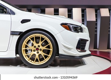 DETROIT - JANUARY 15: Front of the new Subaru WRX STi S209 at the North American International Auto Show media preview January 15, 2019 in Detroit, Michigan.