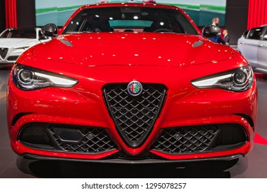 DETROIT - JANUARY 15: Front view of the 2019 Alfa Romeo Giulia at the North American International Auto Show media preview January 15, 2019 in Detroit, Michigan.