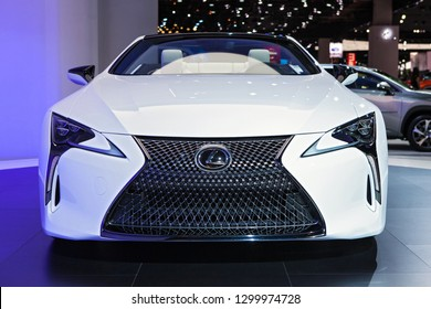 DETROIT - JANUARY 15: Front view of the Lexus LC Convertible Concept at the North American International Auto Show media preview January 15, 2019 in Detroit, Michigan.