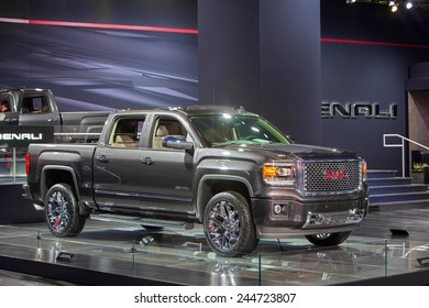 DETROIT - JANUARY 15: The GMC Denali pickup truck January 13th, 2015 at the 2015 North American International Auto Show in Detroit, Michigan.
