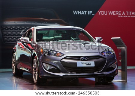DETROIT - JANUARY 15: The Hyundai Genesis Coupe on display January 15th, 2015 at the 2015 North American International Auto Show in Detroit, Michigan.