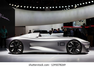 DETROIT - JANUARY 15: The Infiniti Prototype 10 concept on display at the North American International Auto Show media preview January 15, 2019 in Detroit, Michigan.