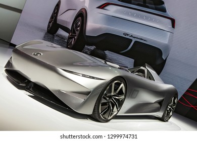 DETROIT - JANUARY 15: The Infiniti Prototype 10 on display at the North American International Auto Show media preview January 15, 2019 in Detroit, Michigan.