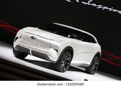 DETROIT - JANUARY 15: The Infiniti QX Inspiration SUV concept on display at the North American International Auto Show media preview January 15, 2019 in Detroit, Michigan.