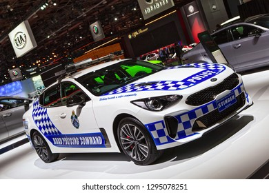 DETROIT - JANUARY 15: A Kia Stinger police car on display at the North American International Auto Show media preview January 15, 2019 in Detroit, Michigan.