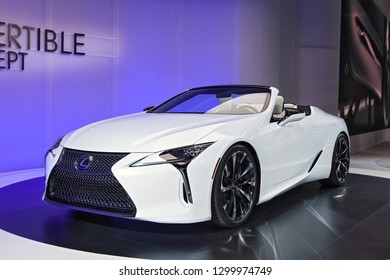 DETROIT - JANUARY 15: The Lexus LC Convertible Concept on display at the North American International Auto Show media preview January 15, 2019 in Detroit, Michigan.